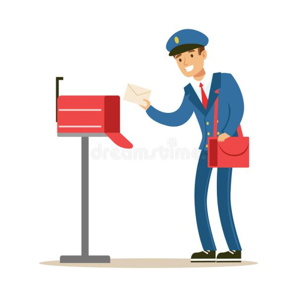 Postman In Blue Uniform Delivering Mail Putting Letters