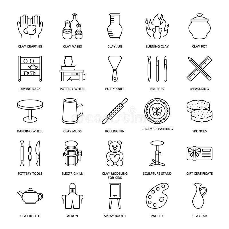 Pottery Workshop, Ceramics Classes Line Icons. Clay Studio