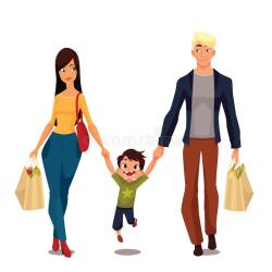 cartoon parents packages vector boy buying pretty illustration background boys standing went preview