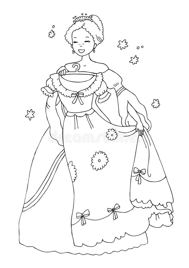 Princess With New Dress Coloring Page Stock Illustration