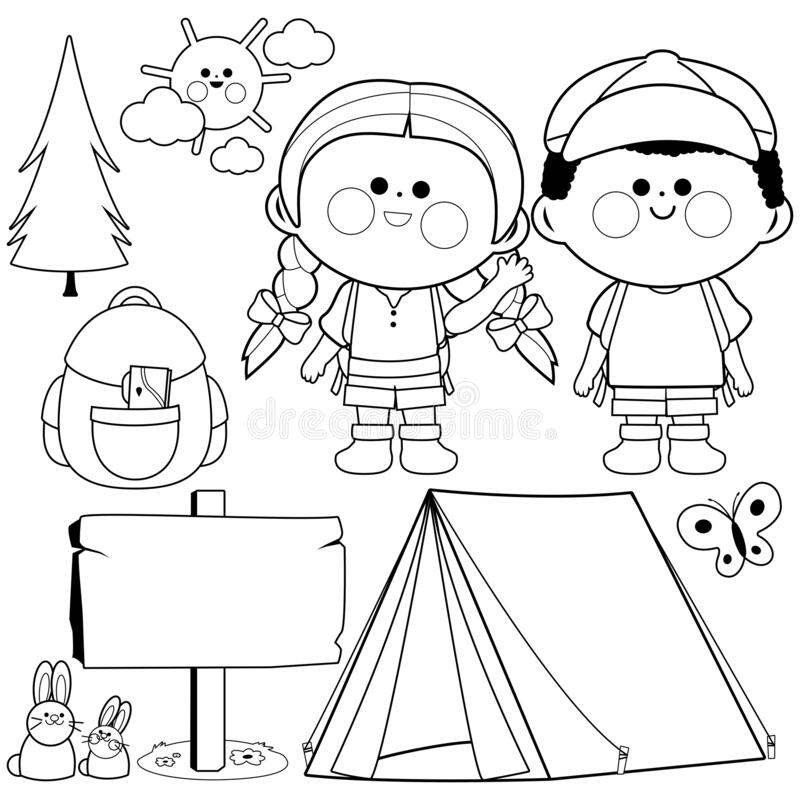 Children Camping Out On White Background. Camping Kids