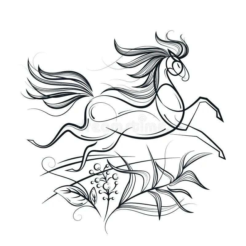 Black horse in a field stock illustration. Illustration of