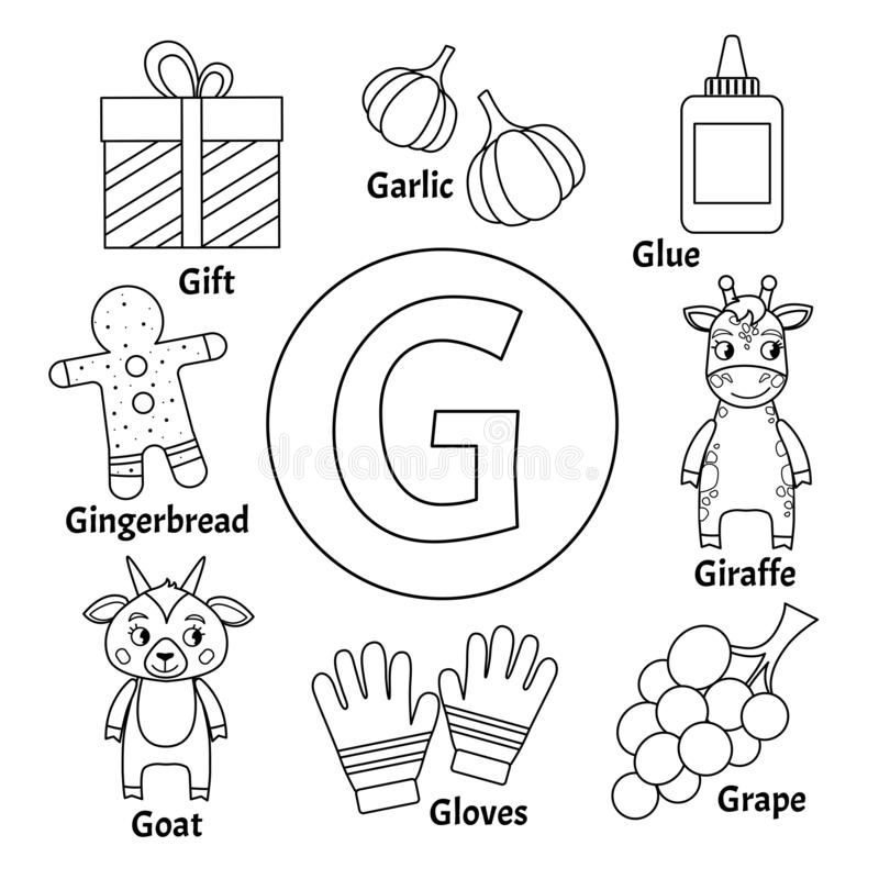 Alphabet G for grape stock vector. Illustration of clip