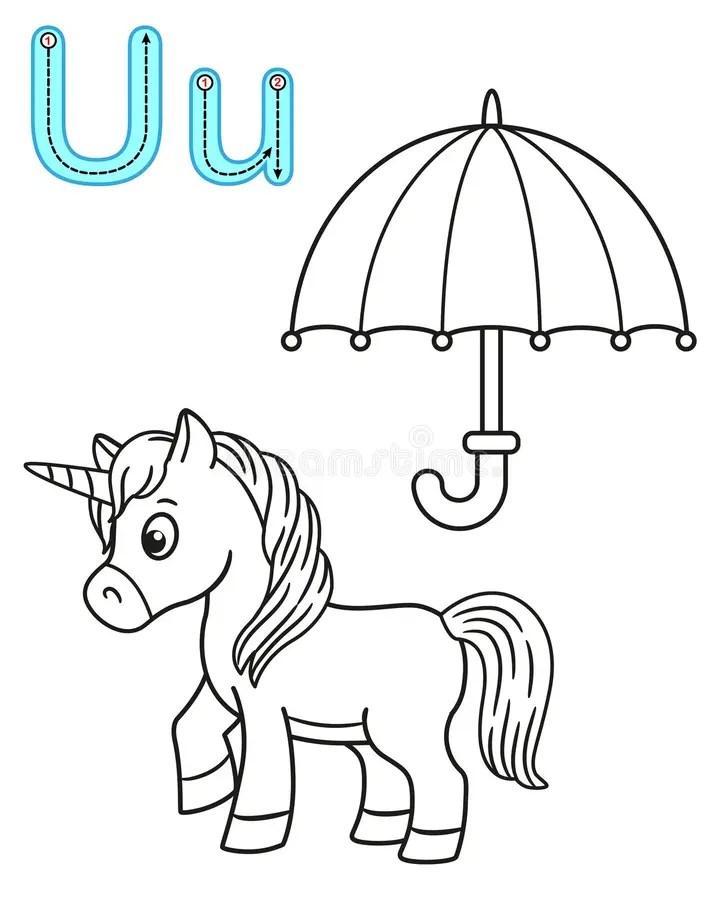 Letter U umbrella stock illustration. Illustration of open
