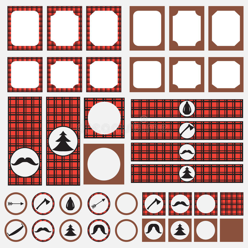 Printable Set Of Vintage Lumberjack Party Elements