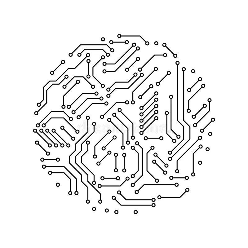 Printed Circuit Board Black And White Circle Shape Symbol