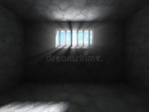 prison cell dark concrete background jail illustration grunge interior render barred window