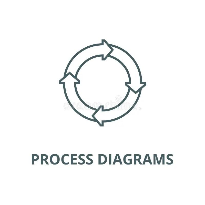 Process Diagrams Vector Line Icon, Linear Concept, Outline