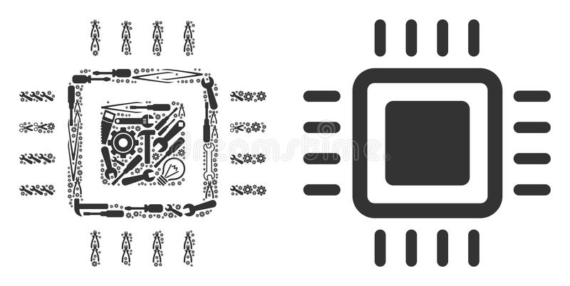 Processor Collage Icon Of Halftone Circles Stock Vector