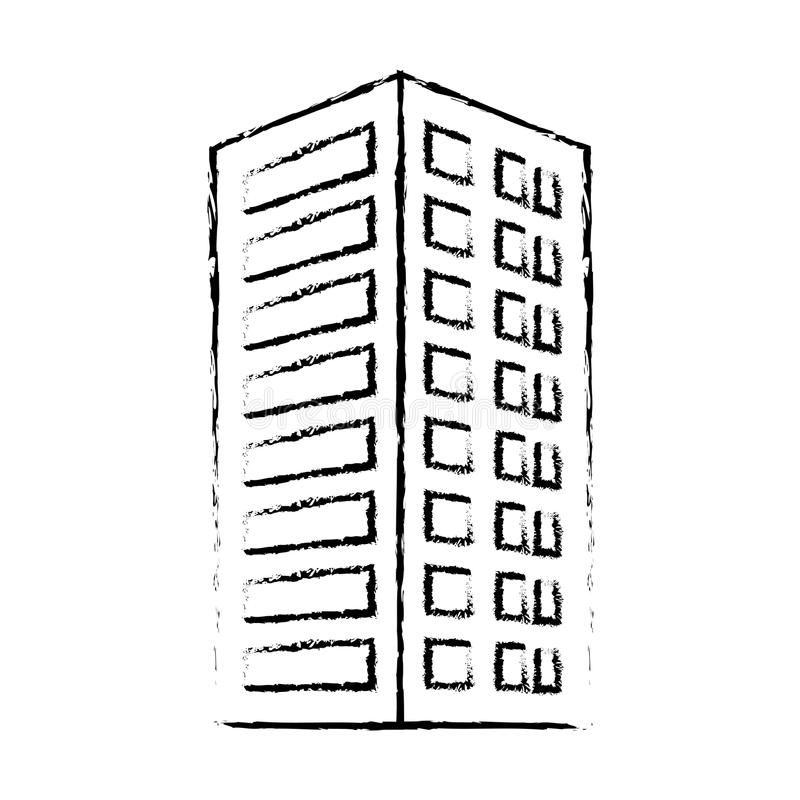 Profile Building With Pointed Top Icon Stock Illustration