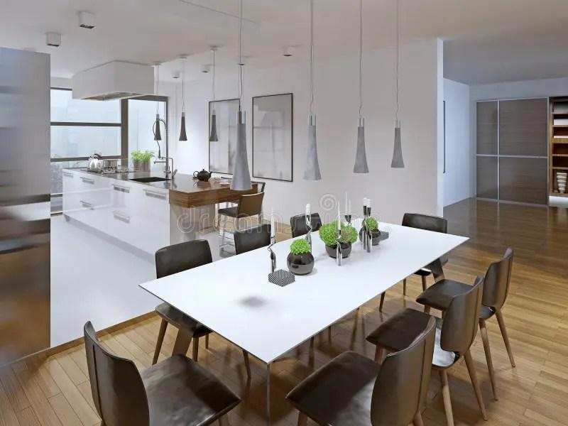 Progettazione Della Cucina Moderna Con Sala Da Pranzo Fotografia Stock  Immagine di brown