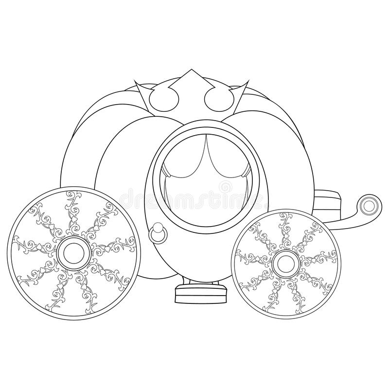 Pumpkin Carriage Coloring Book Page Stock Vector