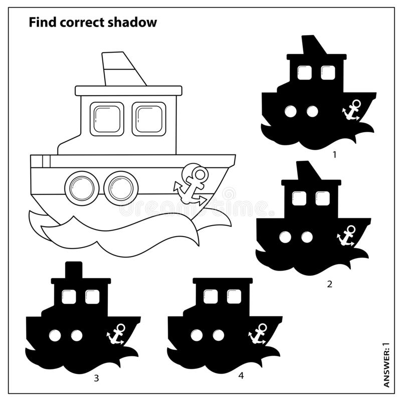 Ship. Black And White Japanese Crossword With Answer