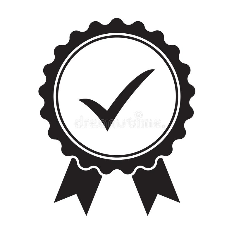 Quality Check Ribbon Icon. Vector Product Certified Or