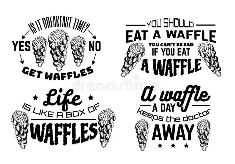 Waffles . Vector Handwritten Lettering Stock Vector