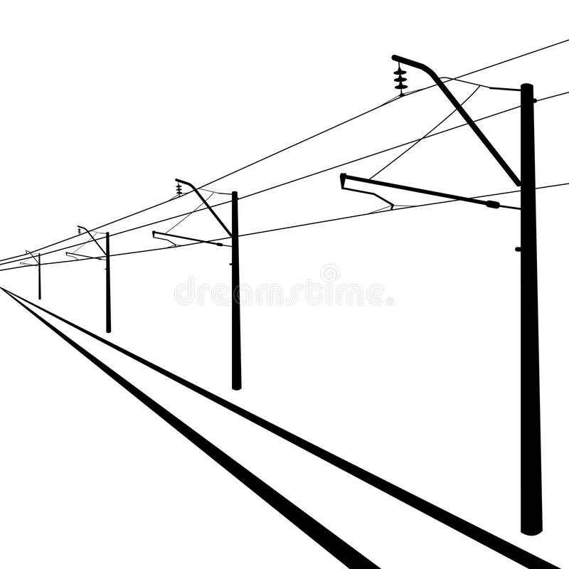 Railroad overhead lines. stock vector. Illustration of