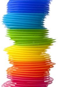 Rainbow Colored Plastic Plates Stock Photo - Image: 16606680