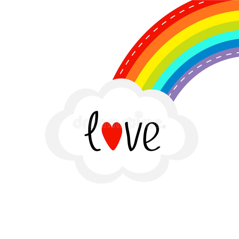 Download Rainbow On The Corner And Cloud In The Sky. Dash Line ...