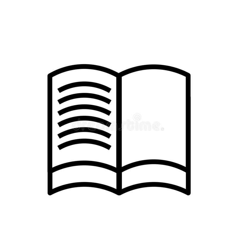 Simple Vector Line Art Outline Icon Of The Open Book Stock