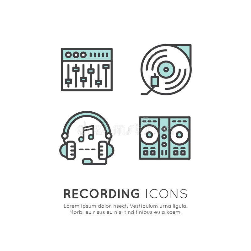 Headphones And Equalizer, Music And Sound Sticker Label