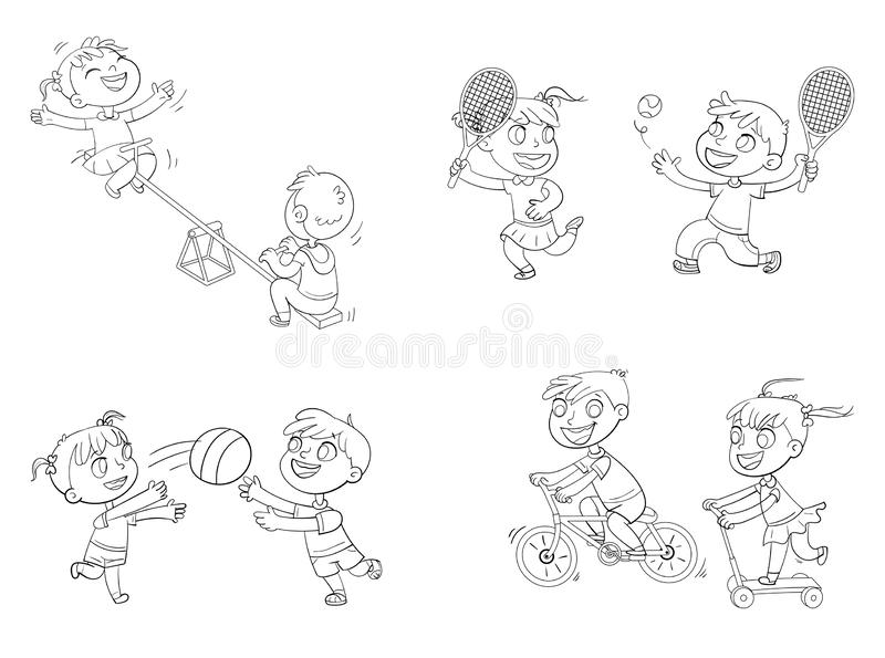 Kids Playing Tug Of War. Coloring Book Stock Vector