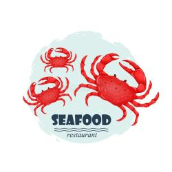 seafood restaurant crab label text emblem silhouette crabs splash isolated sea