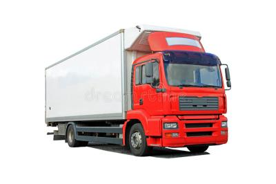 Red Delivery Truck Isolated Over White Stock Photo - Image ...