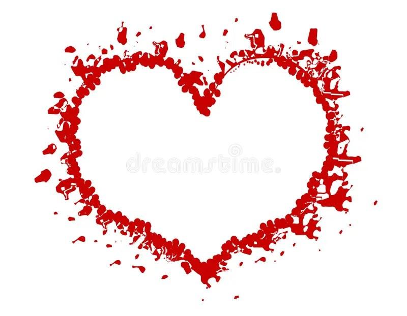 Red Valentine Grunge Heart Frame Or Border Stock