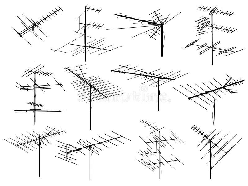 Antennes Op Gebouwen In De Reeks Van Het Stadspictogram