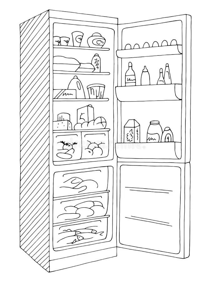 Black Refrigerator With Freezer On White Background