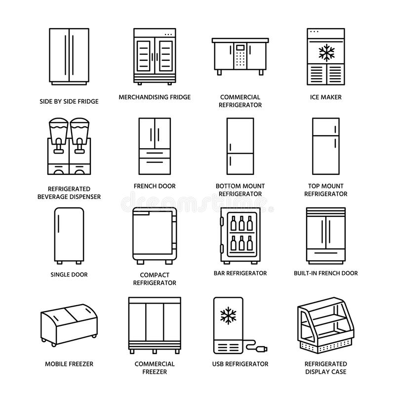 Refrigerators Flat Line Icons. Fridge Types, Freezer, Wine