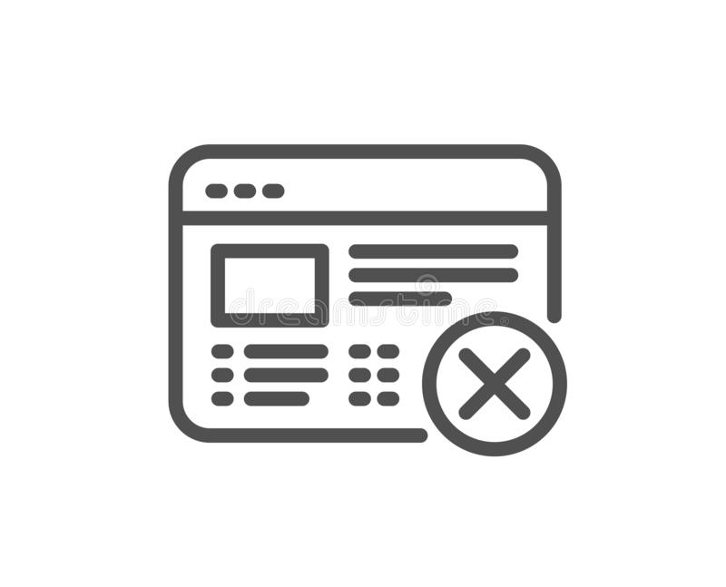 Reject Web Page Line Icon. No Internet Sign. Vector Stock
