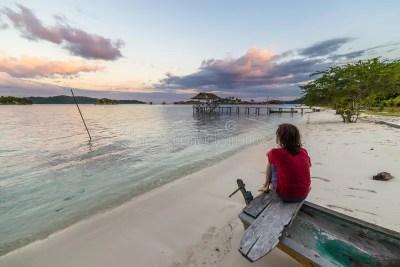 Relaxation at dusk stock photo. Image of female, back ...