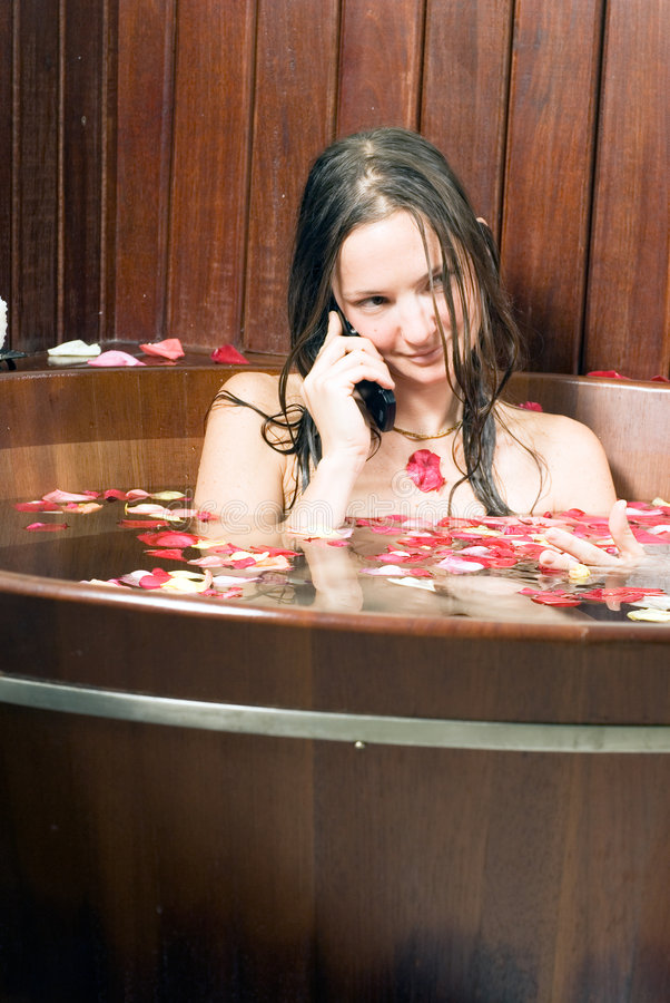 Relaxed Young Girl In Bathtub Vertical Royalty Free