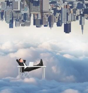 upside down boy creative relaxing businessman cloudy sky