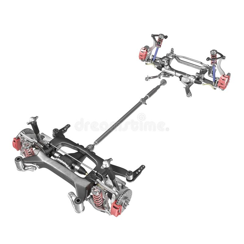 Render Of Car Chassis Without Engine Isolated On White. 3D