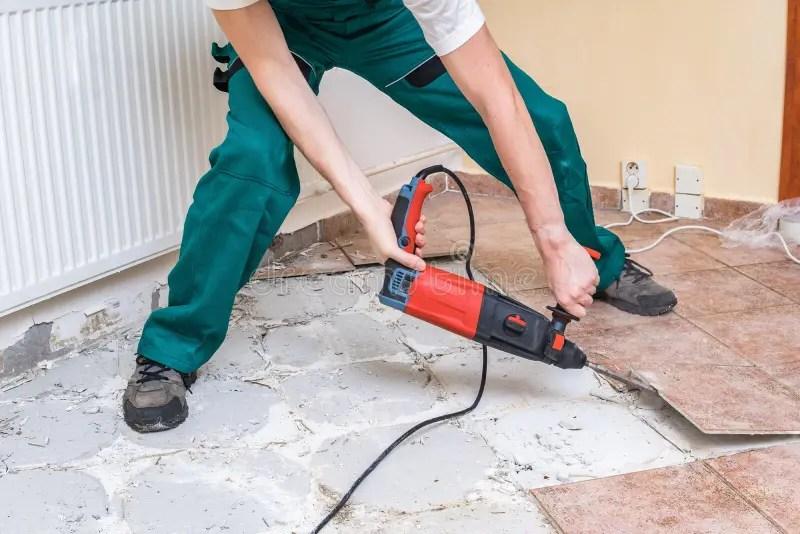 removing old tiles jackhammer