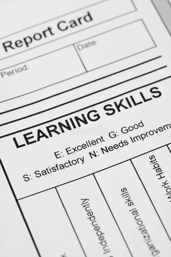 Report card stock image. Image of report, grade, skills