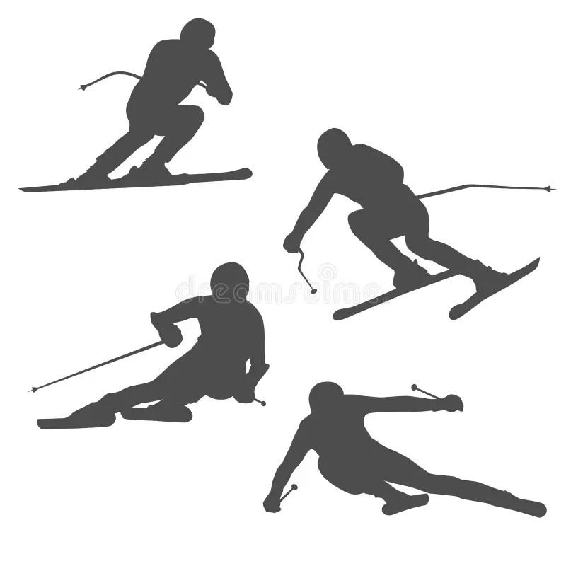 Silhouette Of A Skier On Dark, Black Background Stock