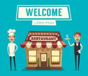 Restaurant Or Cafe Exterior Building Vector Cartoon Illustration Stock Vector Illustration of delivery cartoon: 88204856