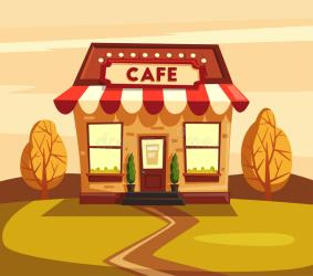 Restaurant Or Cafe Exterior Building Vector Cartoon Illustration Stock Vector Illustration of background drink: 86077143