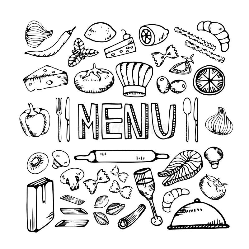 Breakfast Cafe Menu Design Typography Chalk Board Stock