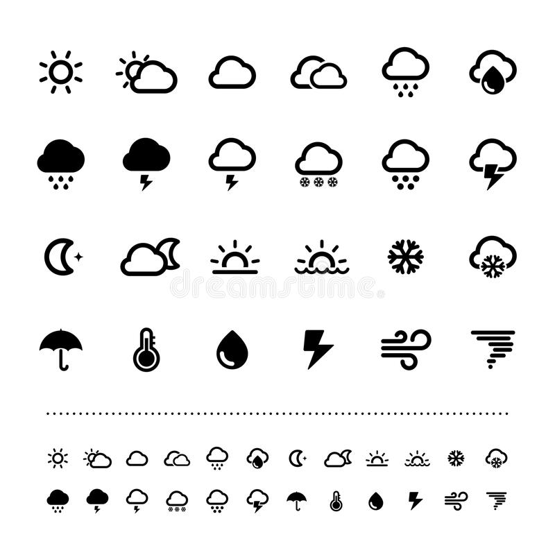 Retina weather icon set stock vector. Illustration of