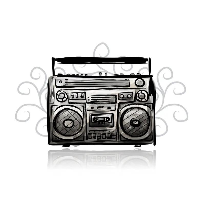 Retro Cassette Recorder, Sketch For Your Design Stock