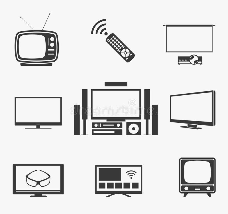 Retro TV Flat Screen, Home Theater And Smart Icons Stock
