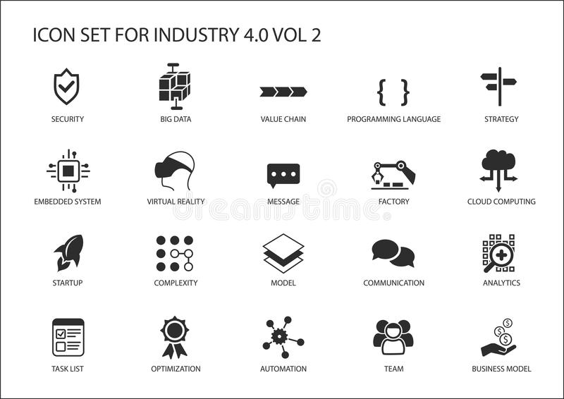 Reusable Icon Set For Industry 4.0 Stock Vector