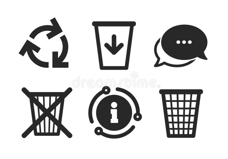 Recycle Bin Icons. Reuse Or Reduce Symbol. Stock Vector