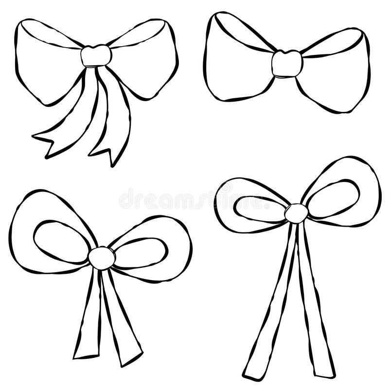 Ribbons Bows Line Art stock illustration. Illustration of
