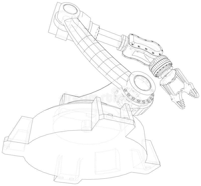 Robot Arm, Industrial Machinery. Technical Illustration