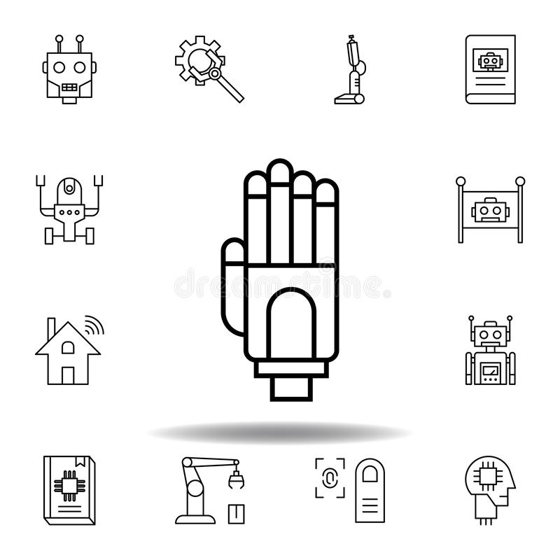 Robotic arm outline icon stock vector. Illustration of